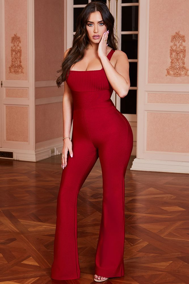 Jump Through Hoops Square Neck Bandage Jumpsuit in Red