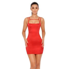 (red) Satin mini dress with cut out chest - main