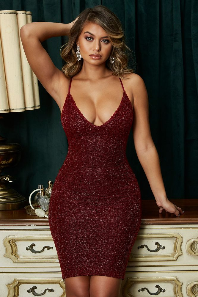 6188d325 Oh Glow On Strappy Plunge Embellished Knee Length Dress in Dark Red. Oh  Polly