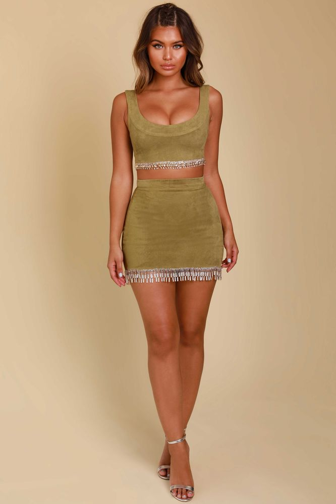 b2f11d62224 Ring My Bell Suede Embellished Mini Skirt in Khaki
