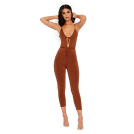 (brown) Tie Front Quarter Length Jumpsuit - Front