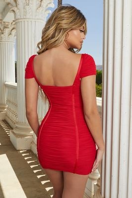 Live The Dream Ruched Bodycon Mini Dress in Red - Image 3 of 10