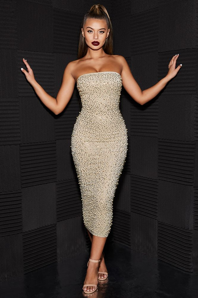 Can't Bead That Embellished Bandeau Midaxi Dress in Gold