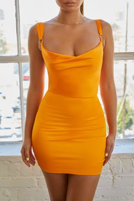 da8d0307e7e Summer Peach Satin Bodycon Mini Dress in Orange