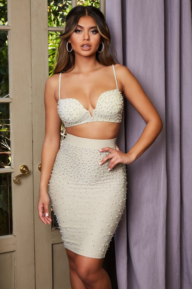 Self Love High Waisted Beaded Embellished Skirt in Ivory