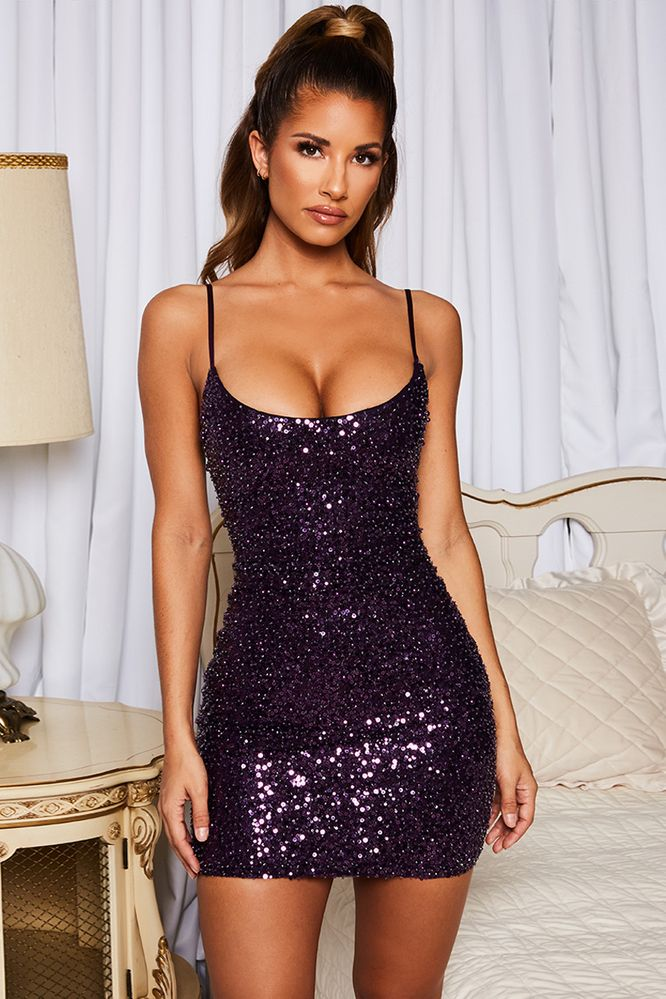 1fff023e Disco Fever Crystal Pearl Sequin Embellished Mini Dress in Purple. Oh Polly
