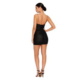 (black) Black Mini Dress with Bead Details - Back View