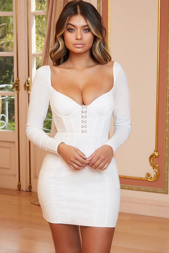 Maid In Manhattan Long Sleeved Underwired Corset Mini Dress in White