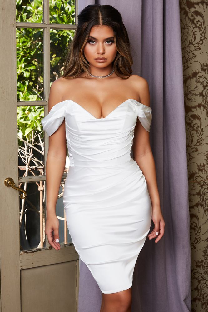 9758c34dfa1 Bring The Drama. Bardot Satin Knee Length Dress in Oyster White
