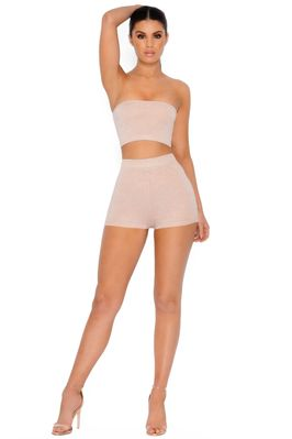 Sparkle The Fire Metallic Knit Shorts in Nude - Image 3 of 4