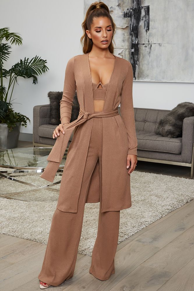 Knit Hot Longline Knitted Duster Cardigan in Coffee
