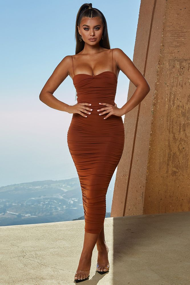 bb6146b84f4 Drop A Bombshell Ruched Midaxi Dress in Rust