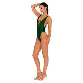 (green) Lace up swimsuit - Side