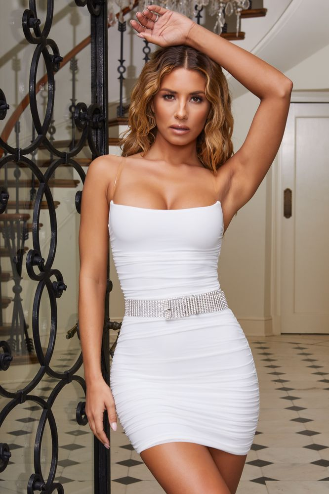 fd2e34cb2e4 Second Skin. Ruched Mesh Mini Dress in Oyster White