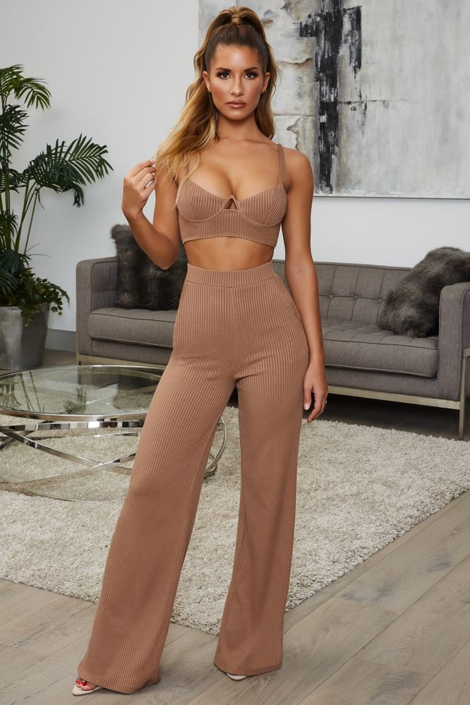 Perfectly Suited Petite High Waisted Ribbed Wide Leg Trousers in Coffee