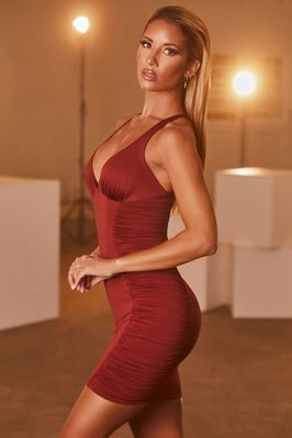 Say Less Plunge Neck Ruched Mini Dress in Maroon - Image 2 of 9