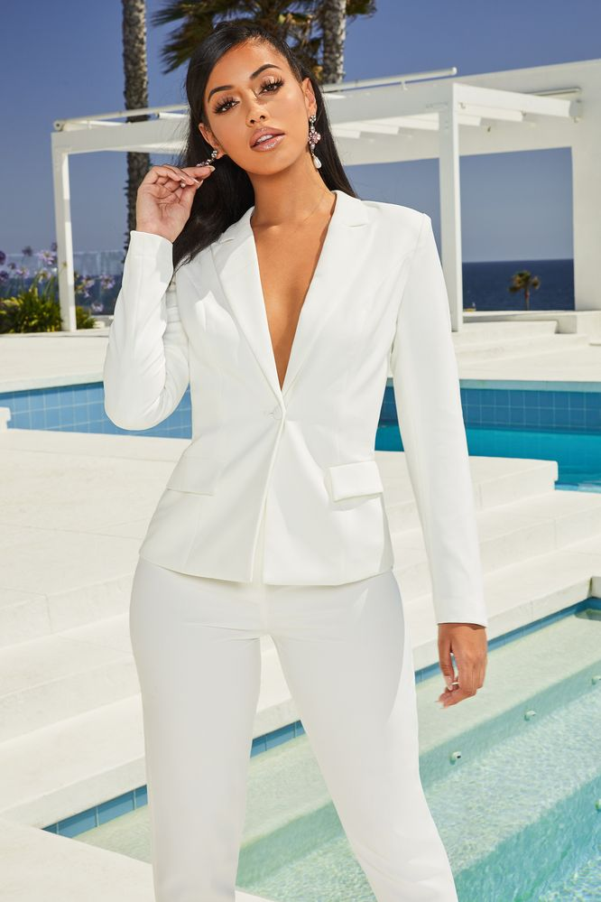 Down To Business Tailored Blazer Jacket in Oyster White