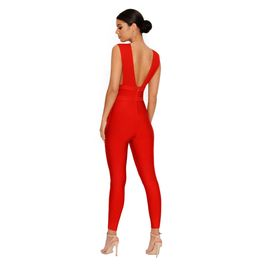 (red) plunge bandage jumpsuit - back
