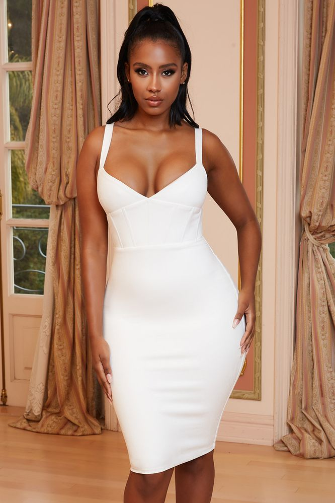 Thank U Next Suede Corset Midi Dress in White
