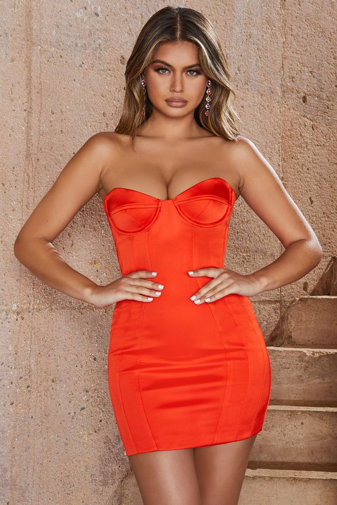 ca30bdb9bd5 Tropical Punch Underwired Strapless Bustier Satin Mini Dress in Red