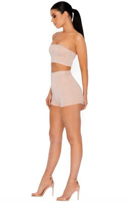 Sparkle The Fire Metallic Knit Shorts in Nude - Image 2 of 4