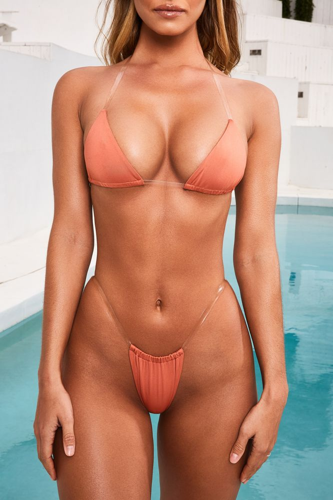 Skinny Dipping Clear Strap Micro Triangle Bikini Top in Burnt Orange