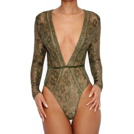 (khaki) long sleeve lace bodysuit - close up