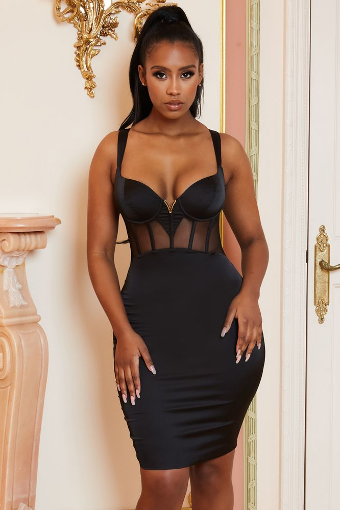 Prove Yourself Mesh Corset Satin Knee Length Dress in Black