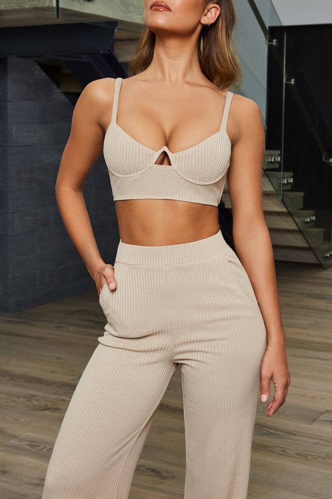 Perfectly Suited Underwired Bralette Crop Top in Beige