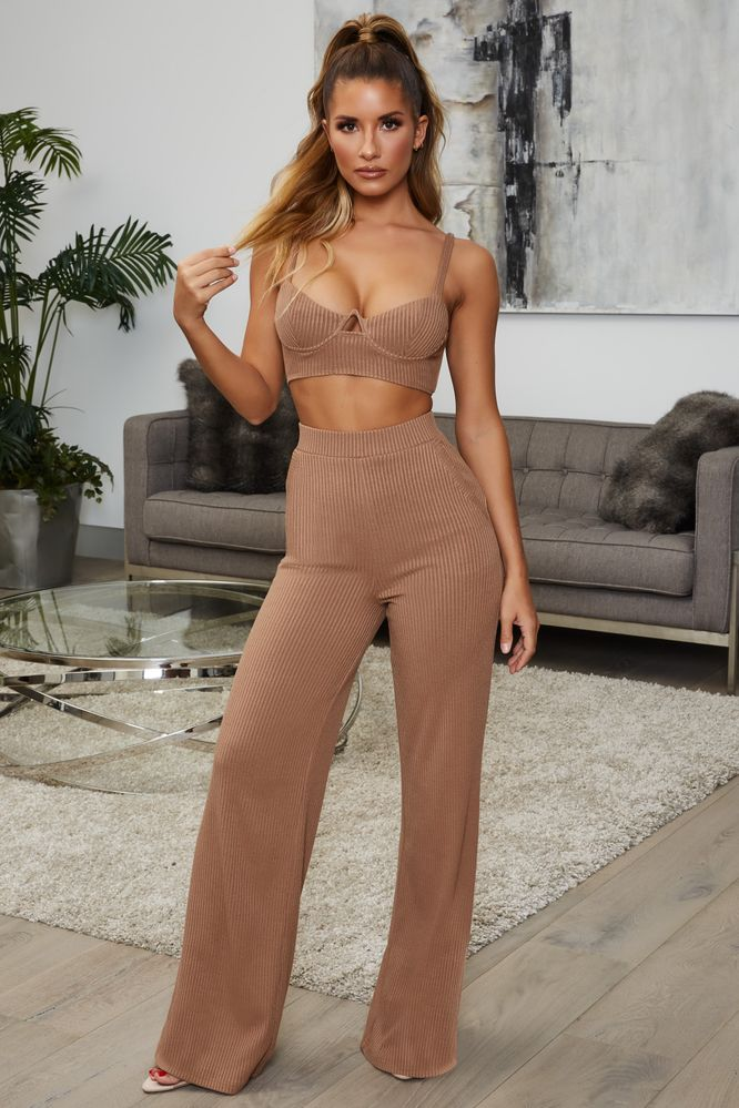 Perfectly Suited High Waisted Ribbed Wide Leg Trousers in Coffee