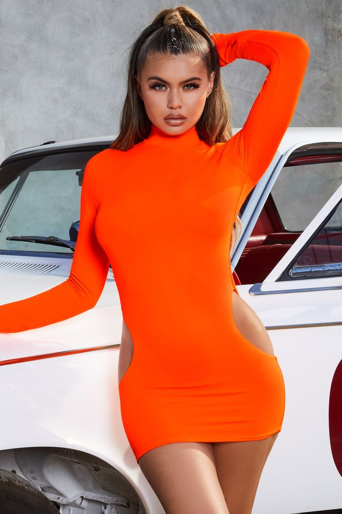 Coral sleeve satin dress long in with you mini meshin' bodycon style tumblr queen