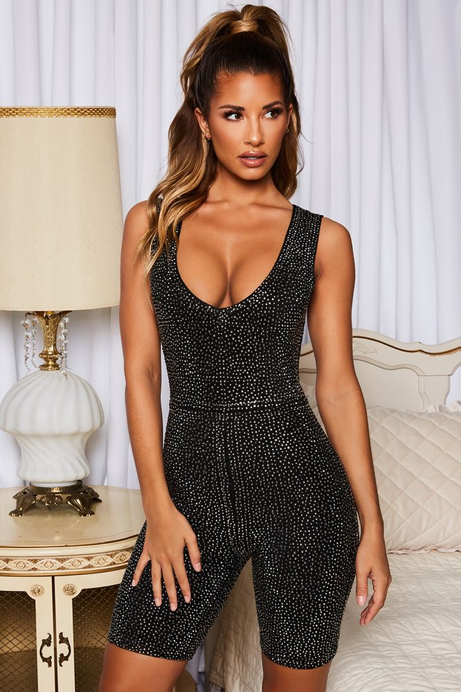 0cf8836a29 One More Chance Sleeveless Rhinestone Embellished Playsuit in Black