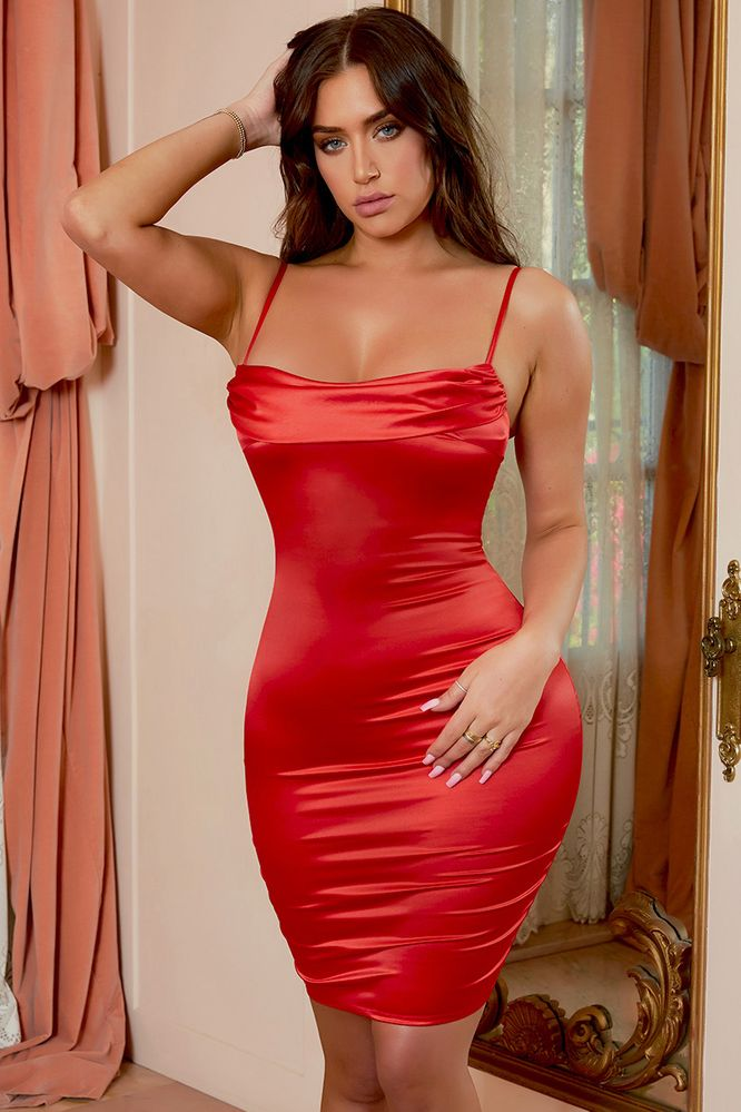 Cowl Hearted Cowl Neck Satin Midi Dress in Red