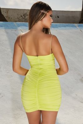 Thing dress mini strappy ruched coral bodycon sweet in service