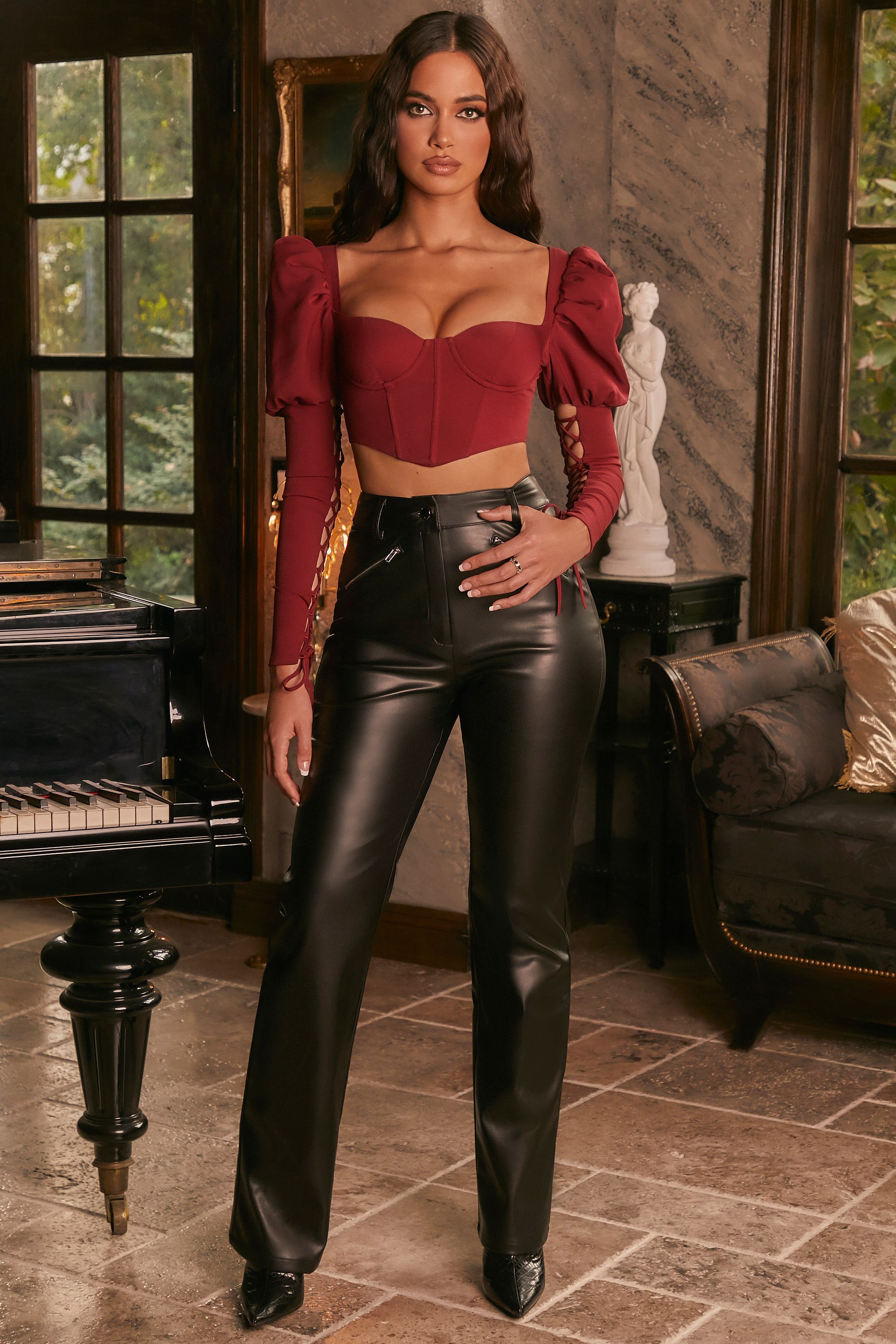 Night To Remember Petite Faux Leather Straight Leg Trousers in Black
