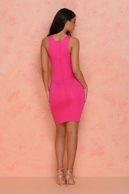 (hot-pink) Strappy Hour Underbust Midi - Back