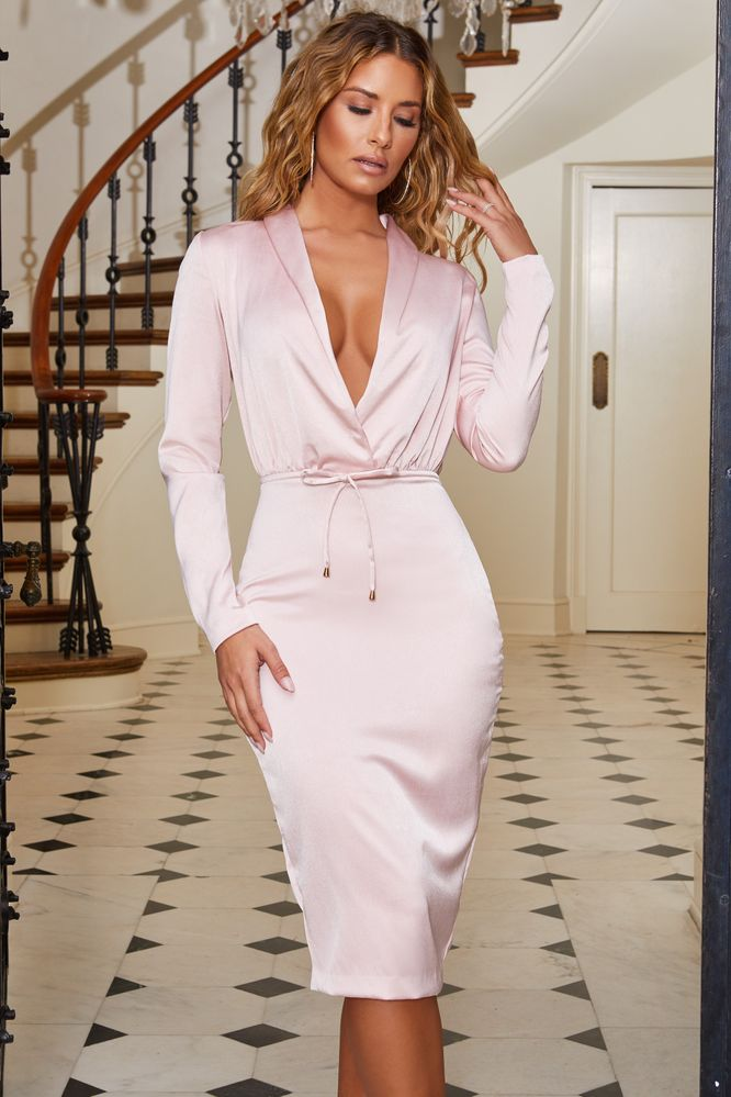 fdd2c81ec7 Smoothly Does It. Plunge Midi Dress in Rose Gold
