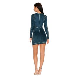 (teal) Suede Mini Dress with Stud Details - Back View